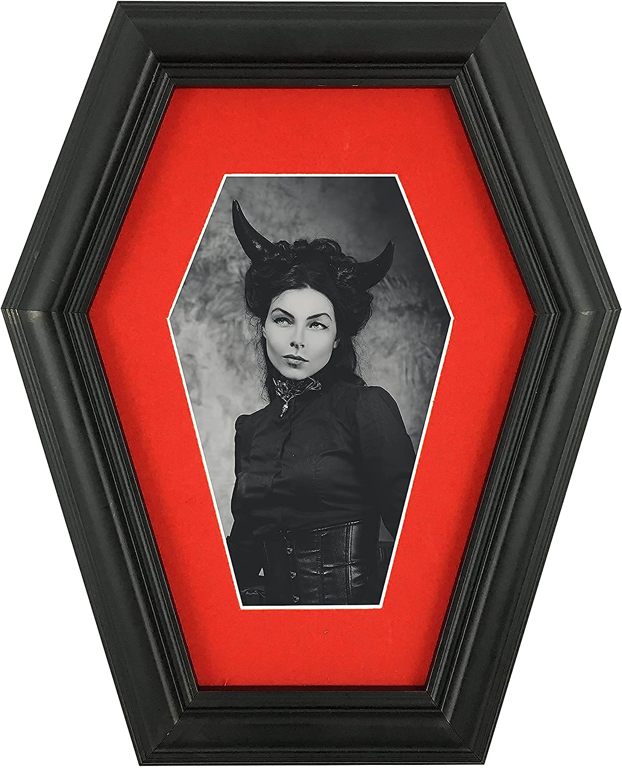 Dravira Coffin Picture Frame - Creepy Gothic Home Decor - Black 4x6 for Wall or Tabletop - High Definition Plexiglass front