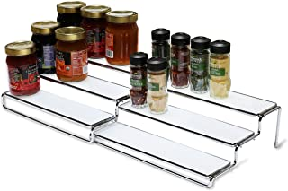 DecoBros 3 Tier Expandable Cabinet Spice Rack Step Shelf Organizer (12.5~25 Inch), Chrome