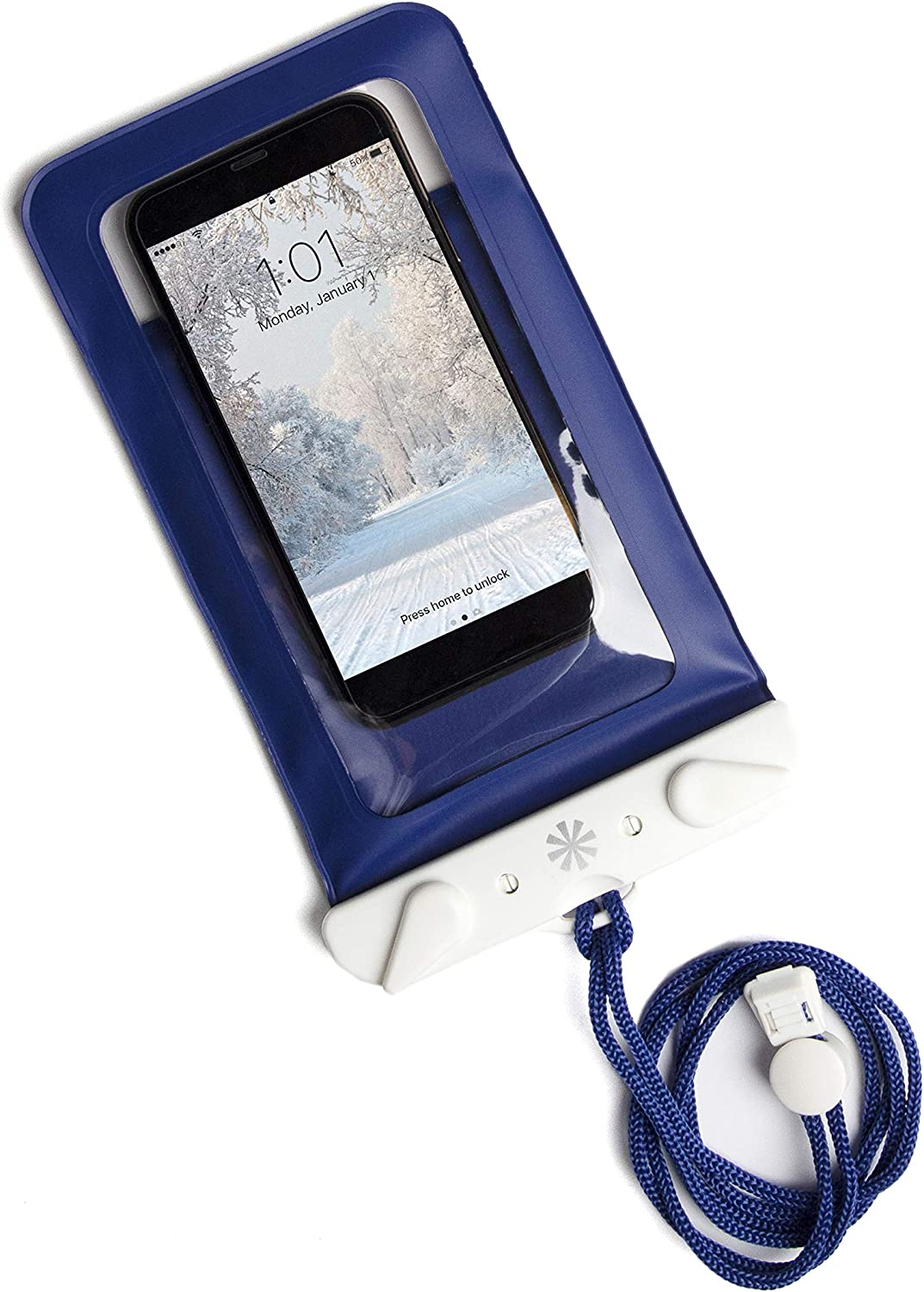Tech Candy Dry Spell Water Defender Bag for iPhone & Android Floats Adjustable Lanyard Protection Text Thru Window Waterproof Snowproof Universal Pouch Beach Lake Ocean Pool2019 Edition Navy Blue