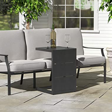 """Ravenna Home Archer Outdoor Collection - Outdoor C-Shape Side Table with Panel Top, Steel Frame, 16.5"""" x 16"""" x 24&#34"""