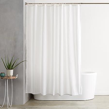 Amazon Basics Shower Curtain with Hooks, 72-Inch, White