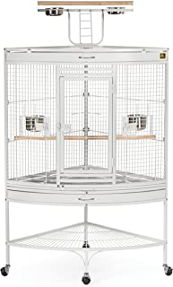 Prevue Hendryx Corner Parrot Signature Series Wrought Iron Bird Cage in White