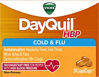 Vicks DayQuil, High Blood Pressure Cold & Flu Medicine, Relieves Headache, Fever, Sore Throat, Minor Aches & Pains, 24 Count, LiquiCaps