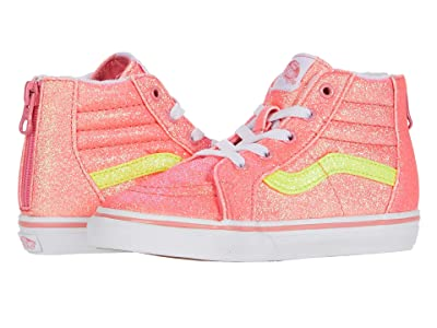 Vans Kids Sk8-Hi Zip (Infant/Toddler) ((Neon Glitter) Pink/True White) Girls Shoes