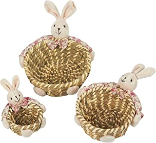 Round Baskets, 3-Pack Straw Candy Bowl Snack Baskets with Rabbit Decoration - Ideal for Displaying Candy, Tabletop Decorfor Living Room, Dining Room, and Kitchen, Pink and Brown, Assorted Sizes