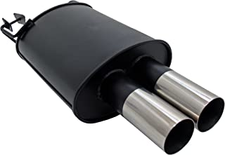 JOM Car Parts & Car Hifi GmbH 89071 Stahl Endschalldämpfer mit 2X 76mm Endrohren gerade