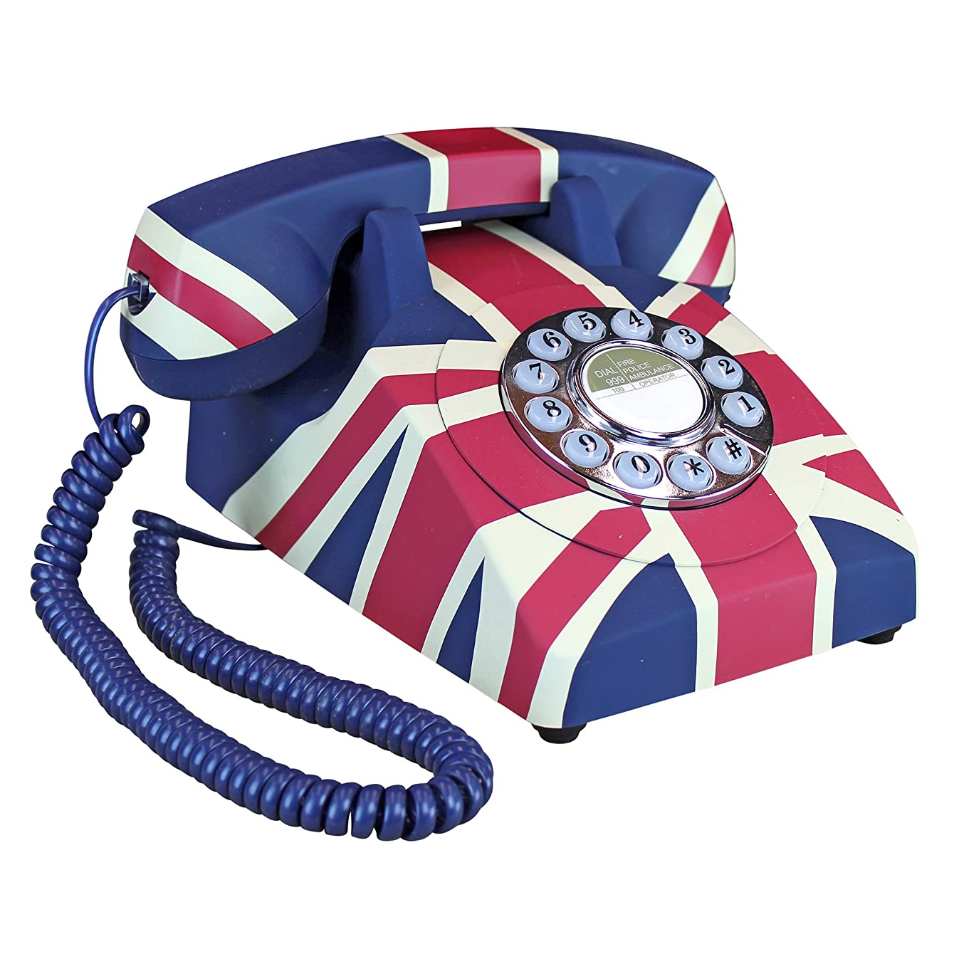Design Toscano British Flag Antique Union Jack Rotary Corded Retro Phone - Vintage Decorative Telephones, one Size, Full Color