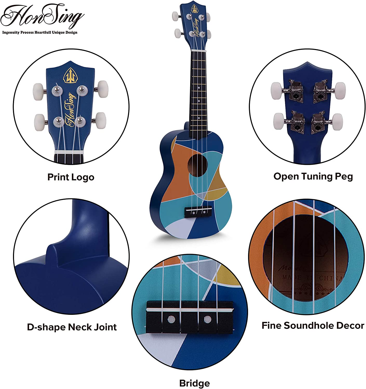 Blue Beach Color matte finish Honsing Kids Ukulele,Soprano Ukulele Beginner,Hawaii kids Guitar Uke Basswood 21 inches with Gig Bag
