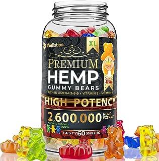 Hemp gummies premium2,600,000 High Potency - fruity gummy bear with hemp oil - natural hemp candy supplements for pain, an...