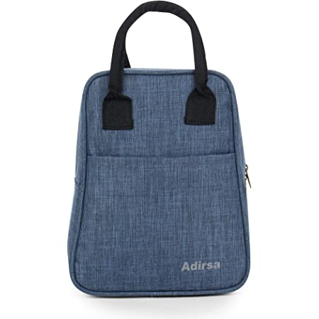 ADIRSA LB3001 Navy Blue Insulated Lunch Bag/Tiffin Bag for Men, Women, Kids, School, Picnic,Work Carry Bag for Lunch Boxes