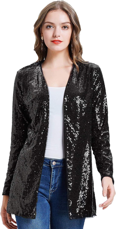 KANCY KOLE Women's Sequin Jacket Open Casual Blazer Front S Ranking TOP2 Limited price sale Long