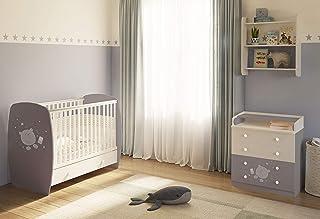 Polini kids Kinderzimmer Babybett  Kommode in grau-weiß
