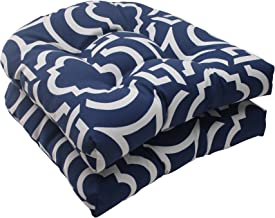 Pillow Perfect Indoor/Outdoor Carmody Wicker Seat Cushion, Navy, Set of 2
