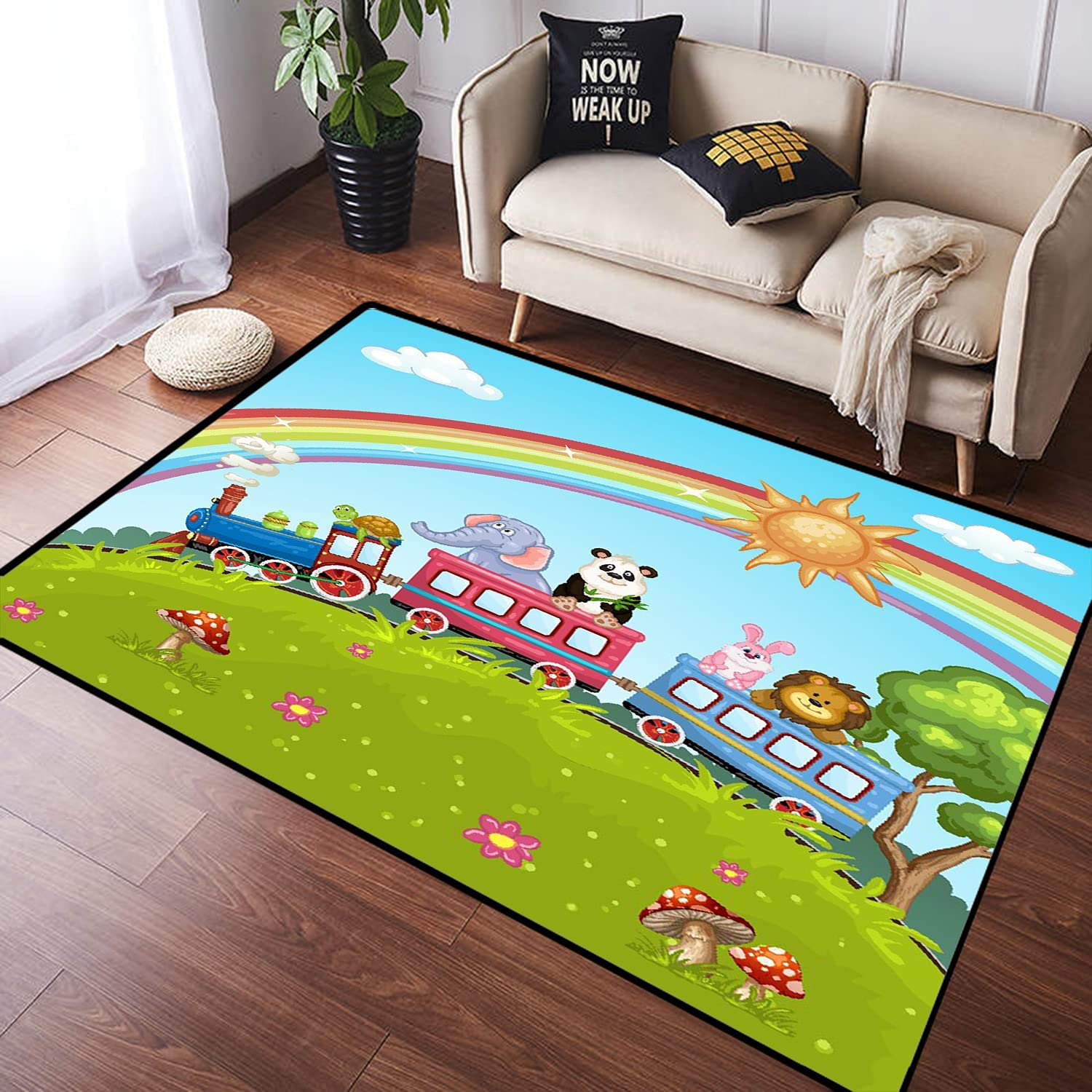 ZOMOY Long Floor Mat Carpet Cute Train Non-Slip on Max 50% OFF Absorb Be super welcome Animal