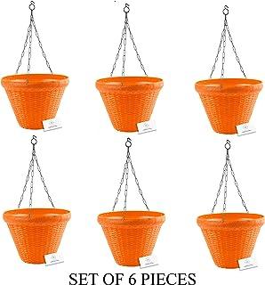 Unique Plastic Hanging Pot with Metal Chain (Orange, Pack of 6)
