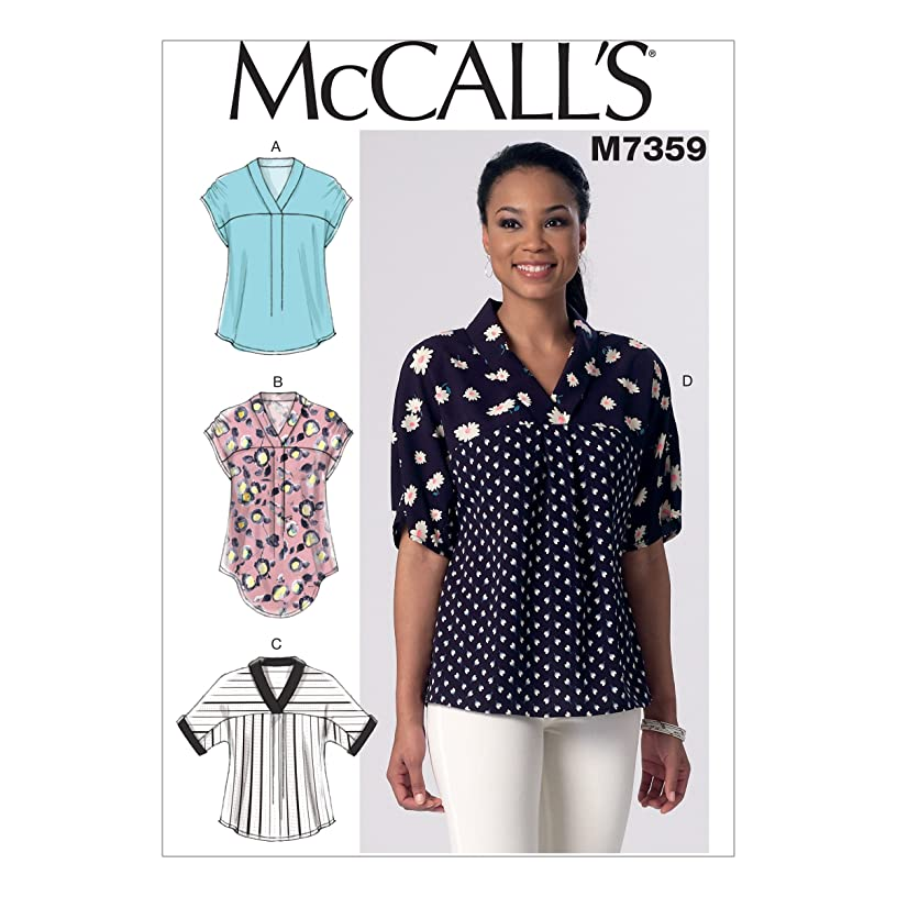 McCall's Patterns M7359 Misses' V-Neck Dolman Sleeve Tops, Y (X-Small-Small-Medium)