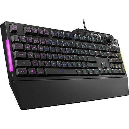 ASUS TUF K1 Tastiera Gaming con manopola del volume dedicata, resistenza ai liquidi, barra luminosa laterale, Illuminazione RGB Aura Sync (Layout ITA)