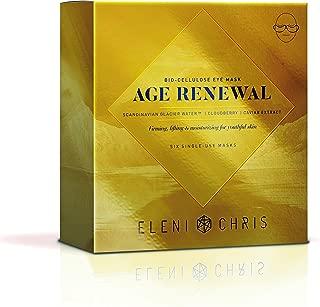 Eleni & Chris - Age Renewal Bio-Cellulose Eye Mask, Firming and Moisturizing for Youthful Skin, Six Single Use Under Eye Sheet Masks .27 Fl oz