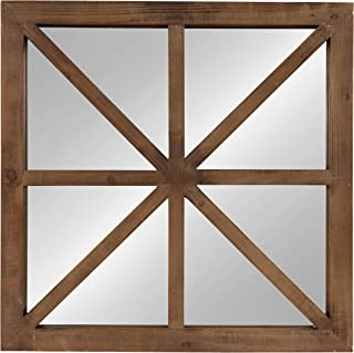 Kate and Laurel Mace Decorative Square Windowpane Design Wooden Wall Mirror, Rustic Brown, 26x26