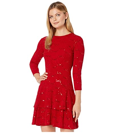 MICHAEL Michael Kors Sequin Jacquard Double Tier Dress (Red Currant) Women