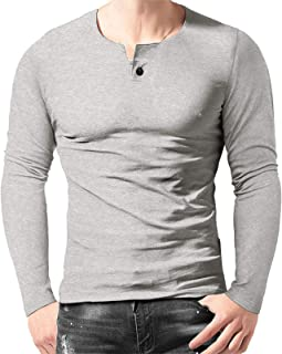 Halfword Mens Casual Henley T-Shirt Long Sleeve Tops Muscle Slim Fitted Placket v Neck Shirts