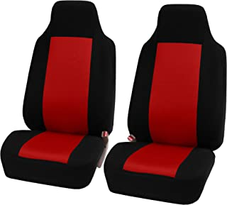 FH Group FB102102 Classic Cloth Car Pair Set Seat Covers w. Free Air Freshener, Red/Black- Fit Most Car, Truck, SUV, or Van
