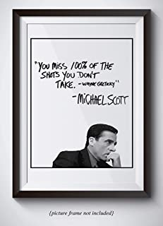 Michael Scott Motivational Quote Poster – You Miss 100% Of The Shots You Dont Take..