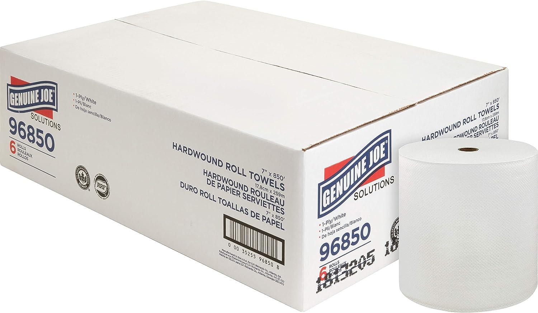 Genuine Joe 96850 850' Roll Hard Wound Paper Towels (Pack of 6)