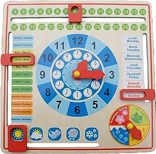 Tooky Toy TK15117 årsklocka i trä för barn, lärande klocka som gör att ditt barn leker lätt kan lära sig klockan, veckodag...