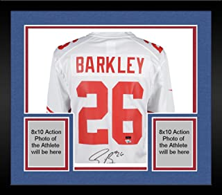 Framed Saquon Barkley New York Giants Autographed Nike White Game Jersey - Panini Authentic - Fanatics Authentic Certified