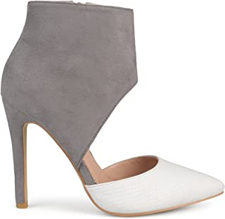 Womens Faux Suede Faux Leather Ankle Cuff Two-Tone High Heels