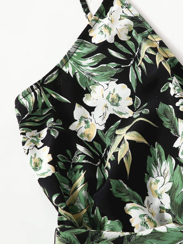 SheIn Womens V Neck Tropical Print Elastic Waist Tulip Hem Cami Romper
