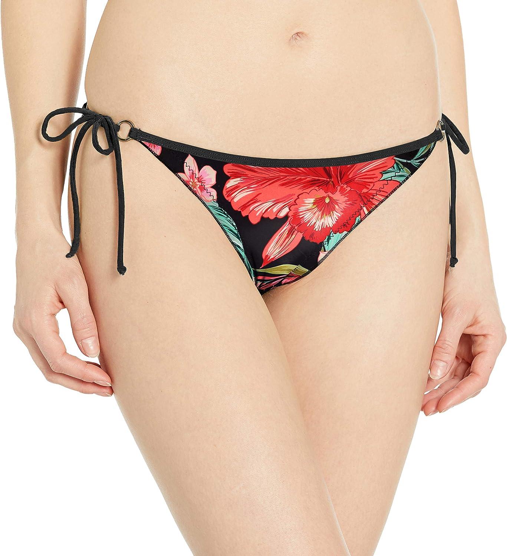 Body Glove Women's Standard Brasilia Tie Side Cheeky Bikini Bottom Swimsuit, Isla Foca Floral, Medium