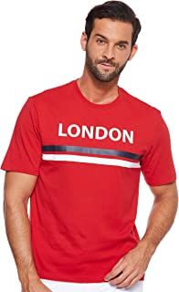 Giordano Men's 01029206 Crew Neck Short Sleeve Men's Union Jack Print Tee's, Red (Haute Red[red] 06), L