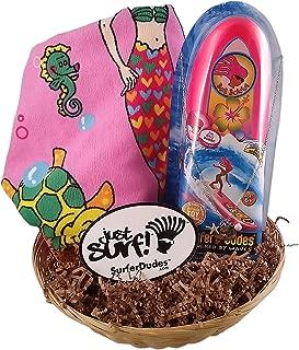 Surfer Dudes 3 Piece Set - Bobbie Toy, Mermaid Beach Towel, Silver Surf Necklace and Basket