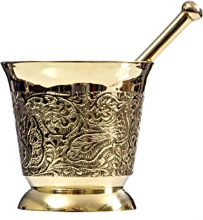 Solid Brass Mortar and Pestle with Intricate Floral Carving