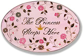 The Kids Room by Stupell The Princess Sleeps Here Brown And Pink Oval Wall Plaque,  10 x 0.5 x 15,  Proudly Made in USA