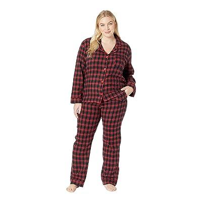 BedHead Pajamas Plus Size Long Sleeve Classic Notch Collar Pajama Set (American Plaid) Women