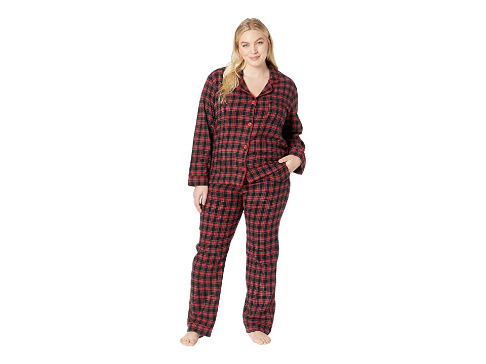 317583cc33 BedHead Plus Size Long Sleeve Classic Notch Collar Pajama Set (American  Plaid) Women s Pajama Sets
