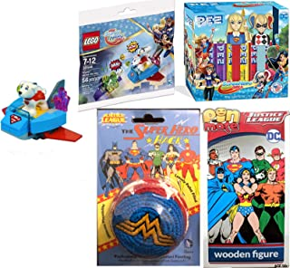 DC Power Girl Pack Mini Figure Fun Krypto Saves The Day Exclusive & Super Hero Girls Wooden Pin Mate Box & Kick Sack Bundle DC Universe Harley Quinn & Super Girl Candy Heads Bundle 4 Item Bundle