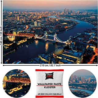 Great Art Photo Wallpaper Wall Decorations London Sunset - City United Kingdom England Bridge Photo 210 x 140 cm/82.7 Inch x 55 Inch - Wallpaper 5 Pieces Includes Paste