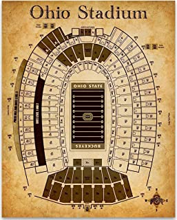 Ohio Stadium Football Seating Chart- 11x14 Unframed Art Print - Great Sports Bar Decor and Gift Under $15 for Football Fans