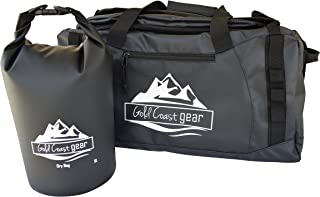 Camping Duffel Bag - Durable Water Resistant - With Shoulder Backpack Straps - Best For Camping, Hiking, Kayaking, Fishing, Biking, Outdoor Sports (Waterproof Dry Bag included as bonus gift)