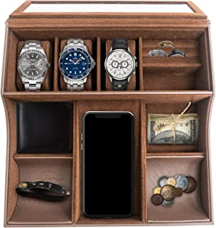 TABI Valet Tray for Men and Women-Includes 10 Compartments-Stores Small and Valuable Items-Unisex Velvet Jewelry Box with Cellphone Holders-for Watches, Keys, Wallet, Rings, Passport-11.2x10.8x3.2in