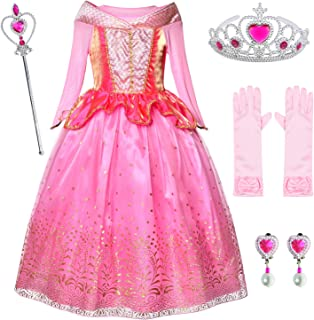 Little Girls Birthday Dress up Princess Aurora Costume With Gloves,Earings,Tiaras & Wand 3-10 Years