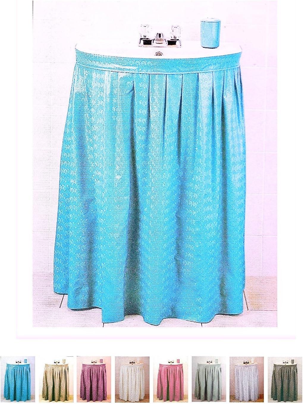 Amazon Com Better Home Premium Vinyl Sink Skirt Bath Vanity Cover Luxurious Designed Water Repellent Light Blue Home Kitchen
