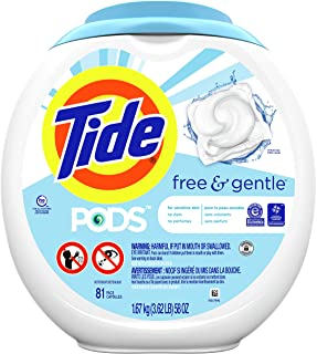 Tide PODS Free & Gentle, Laundry Detergent Liquid Pacs, Unscented and Hypoallergenic for Sensitive Skin, 81 Count - Packag...