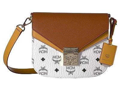 MCM Patricia Visetos Leather Block Shoulder Small (White/Cognac) Shoulder Handbags