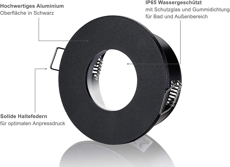 lambado® LED Spots Flach für Badezimmer IP20 in Schwarz   Moderne  Deckenstrahler/Einbaustrahler für Außen inkl. 20V 20W Strahler warmweiß  dimmbar   ...