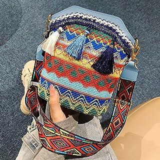 Women Vintage Bag Bohemia Tassels Shoulder Strap Adjustable Large acity Bucket Bag Crossbody Pouch Layfoxz